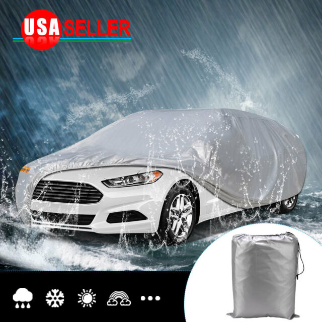 Ft Full Car Cover Silver Waterproof Sun Uv Rain Snow Dust Resistant Protection