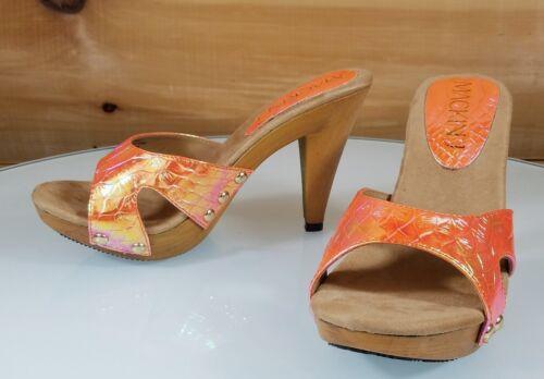 """Mac J Orange  Iridescent Slip On 4/"""" High Heel Shoes Mule Clogs Vintage Wood Look"""