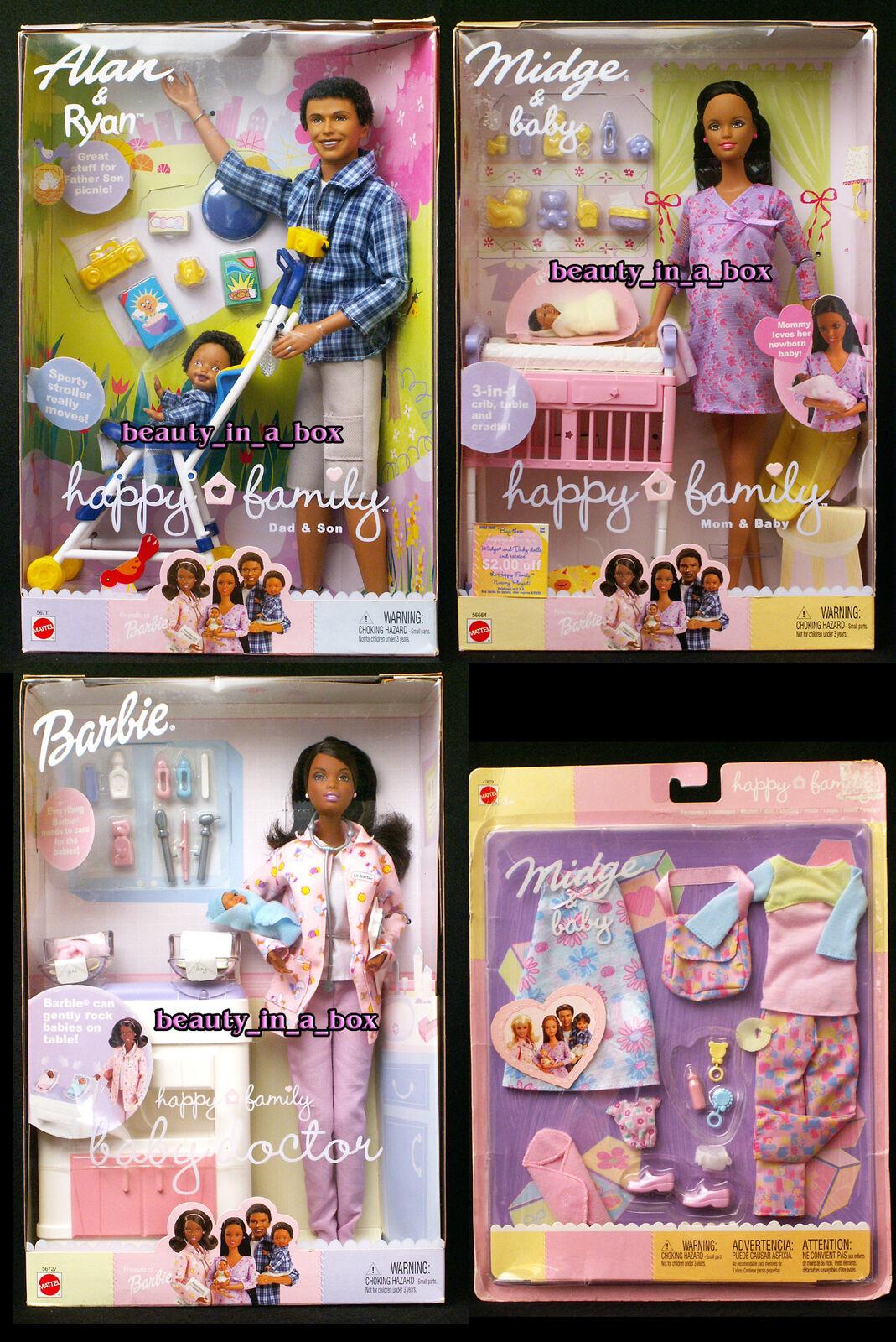 Cecidomia del embarazadas Muñeca Barbie Bebé Familia Feliz Alan médico africano América Aa Lote