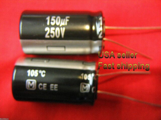 2 pcs  -  150uf  250v  Panasonic radial long life electrolytic FREE SHIPPING
