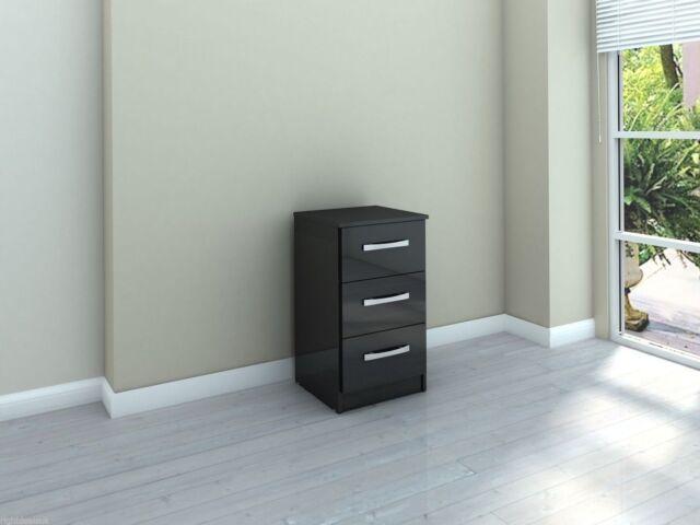 Birlea Lynx 3 Drawer Bedside Cabinet - Black Gloss