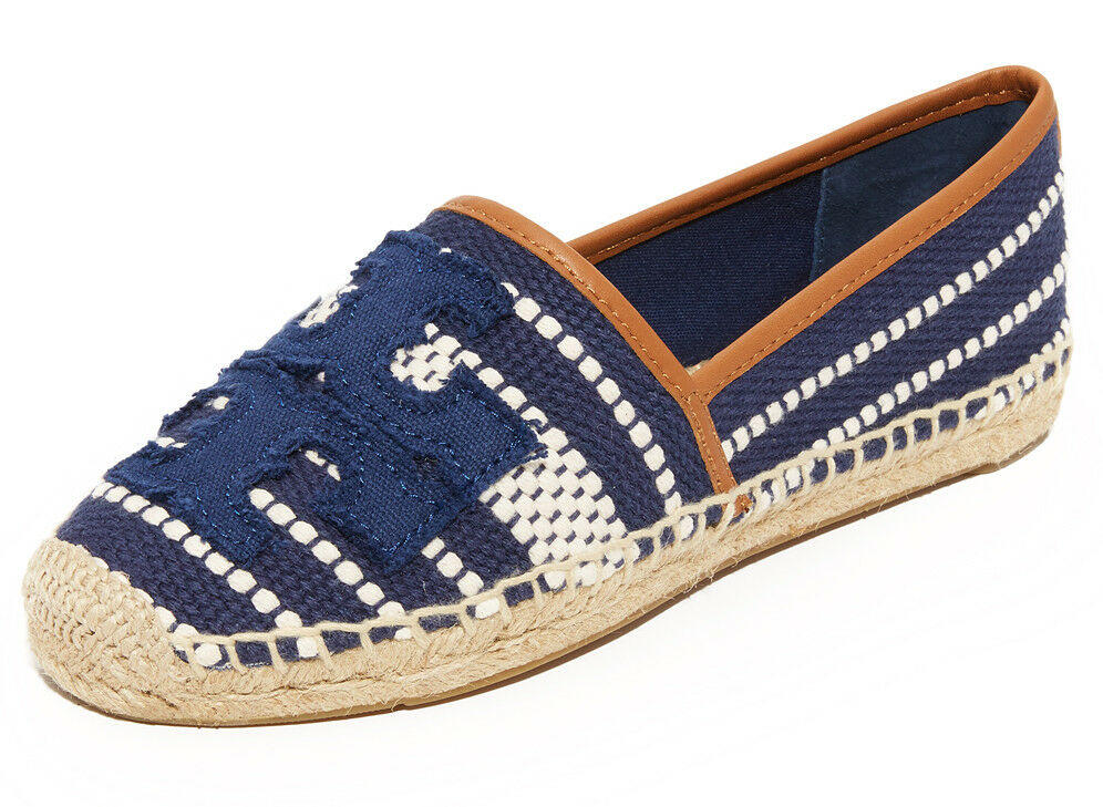 Nouveau Tory Burch Shaw Logo Toile Espadrille Plate Taille 10.5 US Navy Sea Royal Tan