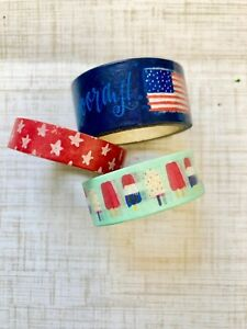 3 Rolls Hello Summer 4th of July Washi Tape Papercraft Scrapbook Planner Supply