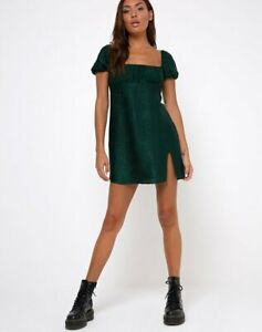 MOTEL-ROCKS-Lonma-Mini-Dress-in-Satin-Cheetah-Forest-Green-L-Large-mr53