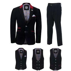Para-hombre-negro-terciopelo-vintage-3-Piezas-Traje-Blazer-Chaleco-del-pantalon-se-vende-por