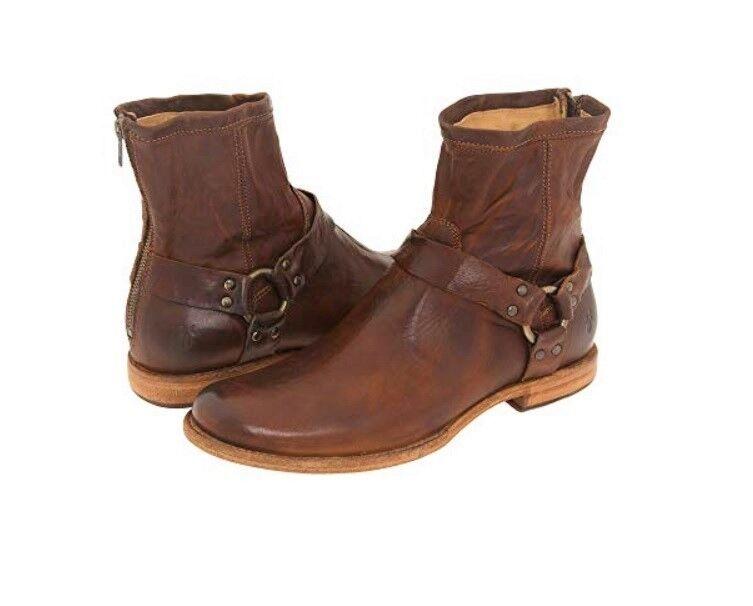 FRYE Phillip Harness Cognac Dark Brown Vintage Distressed Leather Boots 7.5 Mens