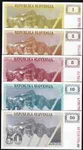 Slovenia P-1 P-2 P-3 Year 1990 Uncirculated Banknotes Set # 3