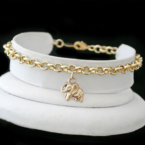 "Foot Ankle Anklets Popular Brand Elephant Charm Belcher Link 14k Gold Ep Anklet Chain Sizes 9""-13"""