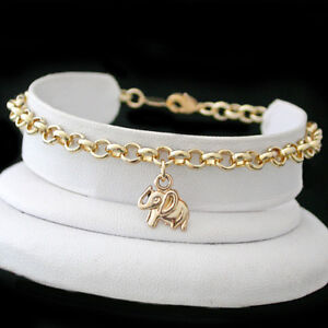 "Fashion Jewellery Popular Brand Elephant Charm Belcher Link 14k Gold Ep Anklet Chain Sizes 9""-13"" Foot Ankle"
