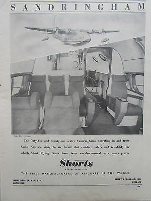5//1947 PUB SHORT BROTHERS SHORTS SOLENT FLYING BOAT HYDRAVION ORIGINAL AD