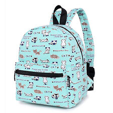 Floral Canvas Mini Backpack Purse Cute Daily Backpacks For Teen Girls Cat Blue