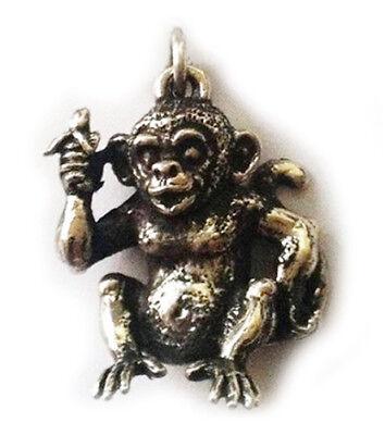 925 Sterling Silver MONKEY PENDANT 18mm Drop chinese horoscope animal ape