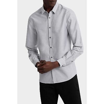 NEW Blaq Iceland Striped Detailed Collar Long Sleeve Slim Shirt Grey