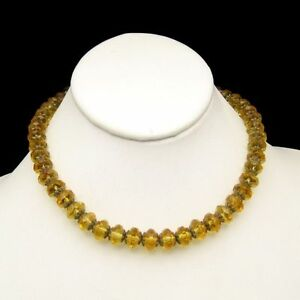 ART-DECO-Vintage-Necklace-Large-CZECH-Crystal-Yellow-Glass-Beads-Brass-Caps