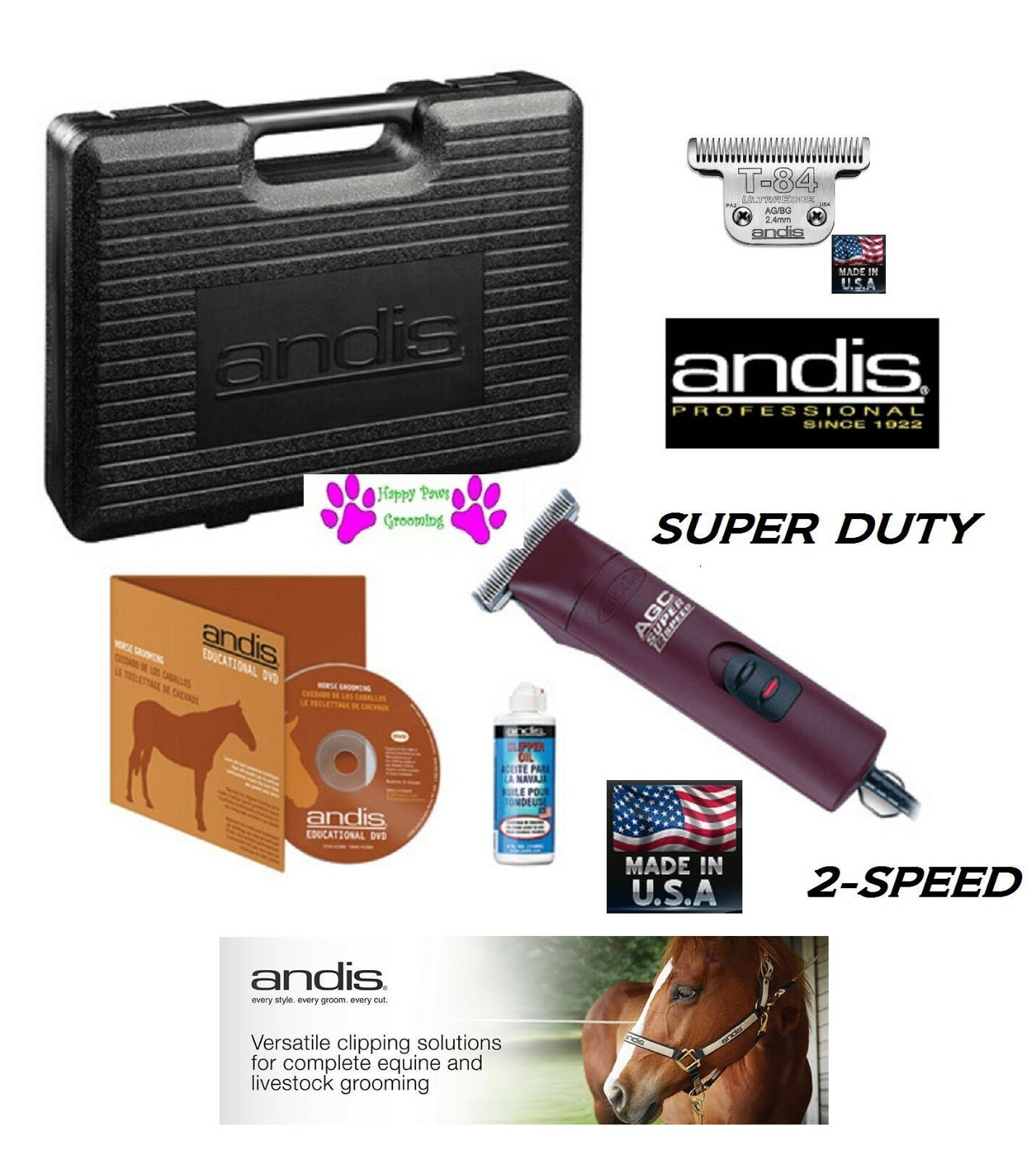 Andis pro pro Andis Super Duty 2-Speed Clipper Set&ultraedge T-84 Blade,DVD Hülle 3f48ee