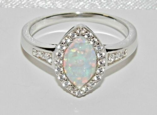 y Blanco Opal Anillo de cluster Circón Damas Marquesa-Talla M 925 Plata Esterlina