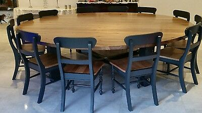 12 14 16 Seater Round Dining Table 12 Chairs Chunky Blackened Oak Stain Top Ebay