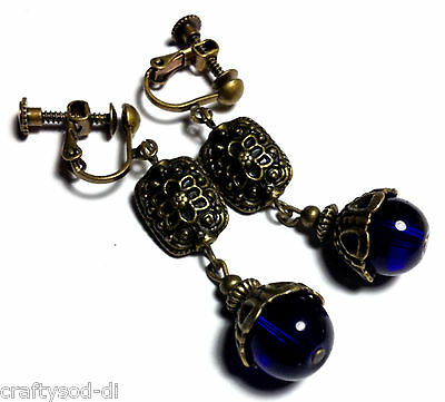 Blue Bronze Clip-On Earrings Long Drop Dangle Antique Vintage Style