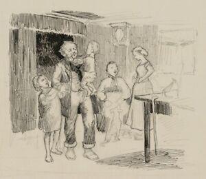 Muntere-Familienszene-in-der-Stube-Daenemark-um-1890-Federzeichnung