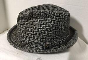 Vintage-Trav-039-ler-Fedora-Hat-by-Country-Gentleman-Gray-Tweed-Size-7-1-4