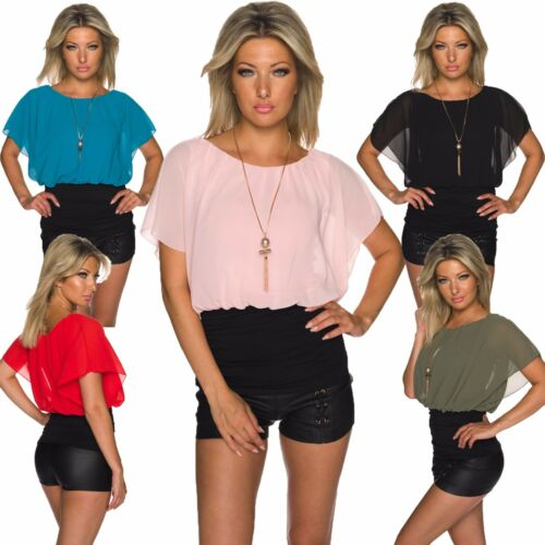 Damen Chiffon Shirt Top Bluse Tunika mit Kette Jersey Büro Party Club S 34 36 38