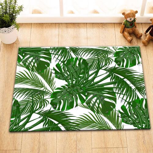 Vert Tropical Palm Leaves Sol Mousse Mémoire Tapis Tapis Antidérapant Porte Tapis de bain