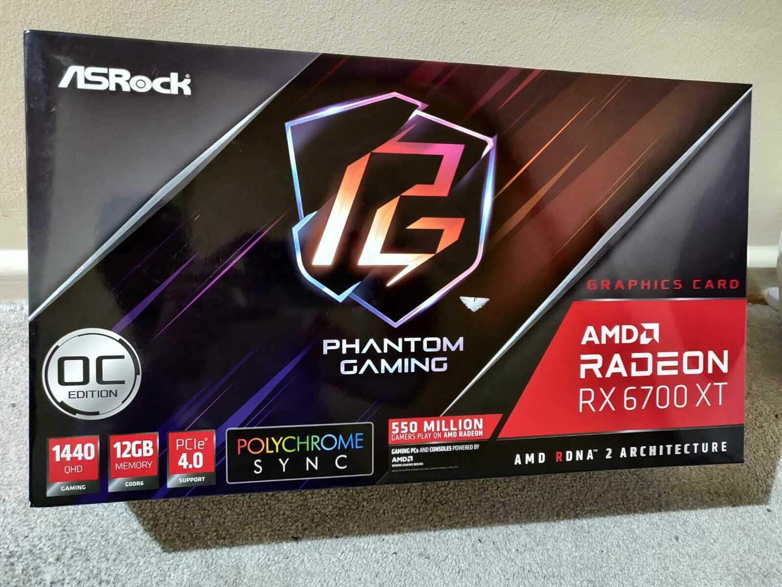Asrock Radeon RX 6700 XT Phantom Gaming D 12GB OC Graphics Card FREE 24HRS