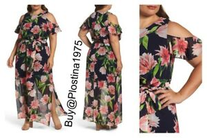 cd54a3234d9d NEW $178 Eliza J Floral Chiffon Cold Shoulder Maxi Dress Plus Size ...
