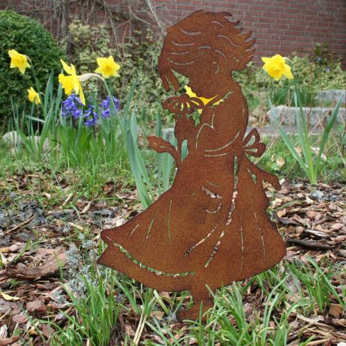 Gartenstecker Mädchen 40cm Rost,Edelrost Optik,NEU