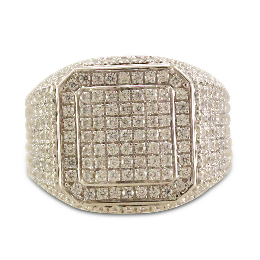 Mens White Gold Finish 925 Silver XL Sim Diamond Pinky Wedding Ring Band 3.00 Ct