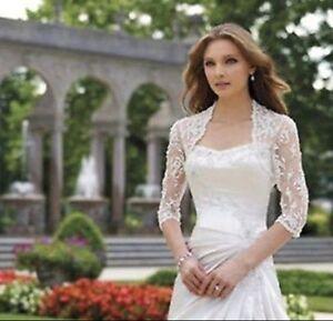New-White-Ivory-3-4-Sleeve-Applique-Lace-Jacket-Wedding-Bridal-Bolero-Wrap-Shawl
