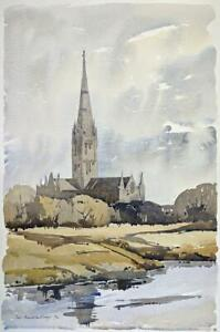 FRED-MARSHALLSAY-Watercolour-Painting-SALISBURY-CATHEDRAL-1972-IMPRESSIONIST