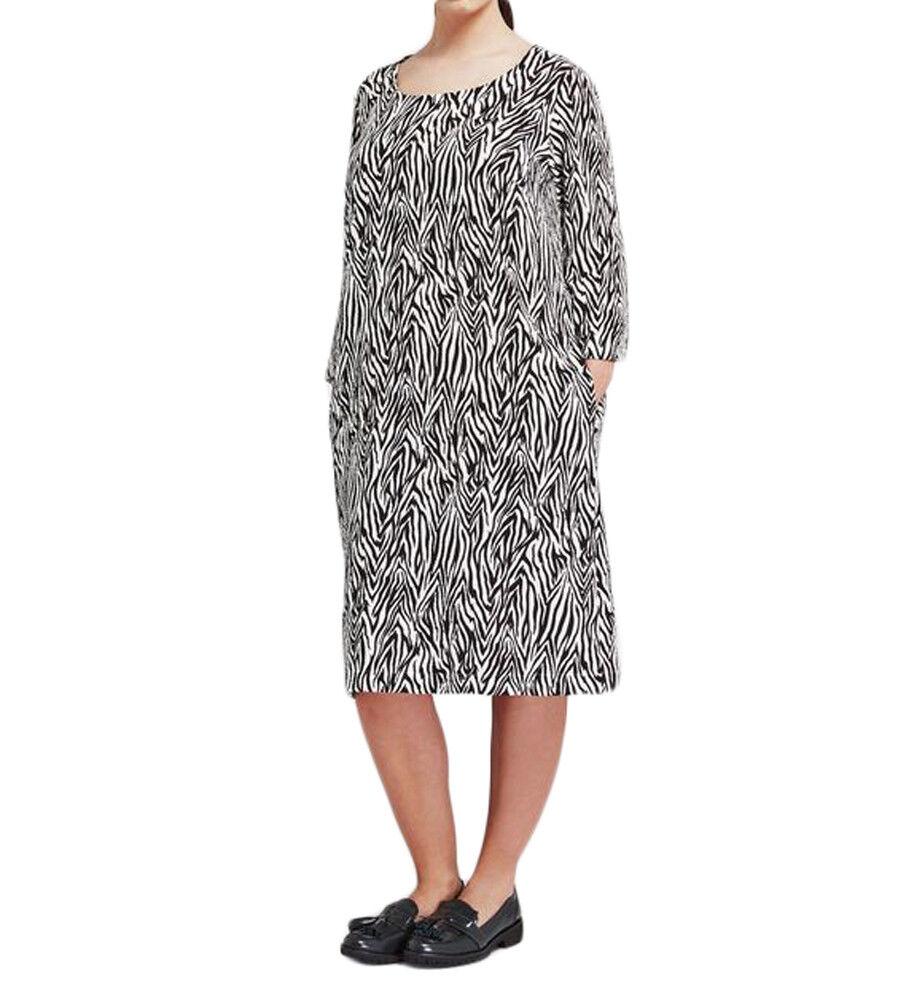 Marina Rinaldi Damen Schwarz Weiß Decimo Zebra Druck Kleid Nwt