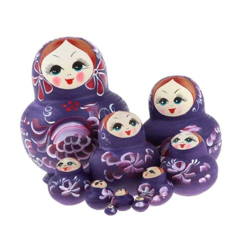 Purple Girls Printed Wooden Russian Nesting Dolls Babushka Matryoshka Toy
