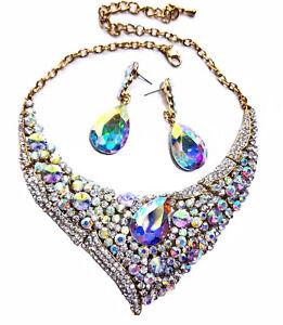 Large-Rhinestone-Austrian-Crystal-Choker-Necklace-Earring-Set-AB-Pageant-Drag