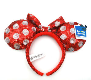 Disney-Parks-Mickey-Red-Sequins-Bow-Minnie-Mouse-Ears-Cute-Spot-Cos-Headband