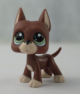 Littlest-pet-shop-LPS-1519-Brown-Great-Dane-Dog-with-Green-Eyes