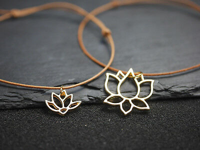 gold Blüte Blume echt Leder Leder Armband mit Lotus Anhänger