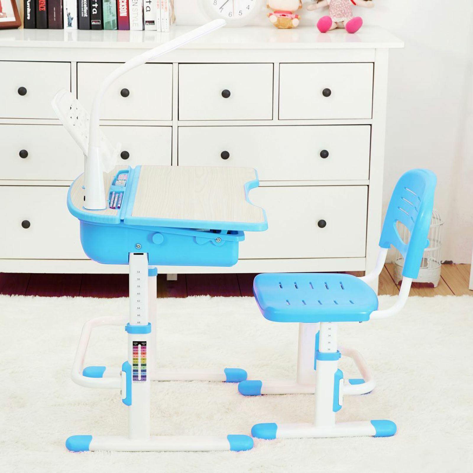 Ergonomic Bureau et Chaise - Bleu - Meubles Enfants Devoirs Gratuit + P