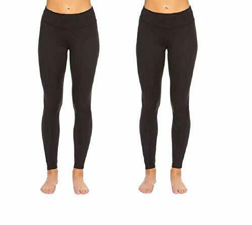 Hue Womens Black 2 Pairs Fit Cotton Leggings Wide Waistband Large For Sale Online Ebay