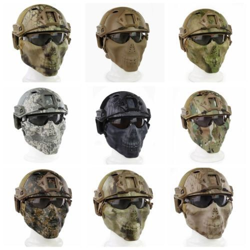 Tactical Fast Helmet & Tactical Mask W Goggle Combination For Airsoft Paintball