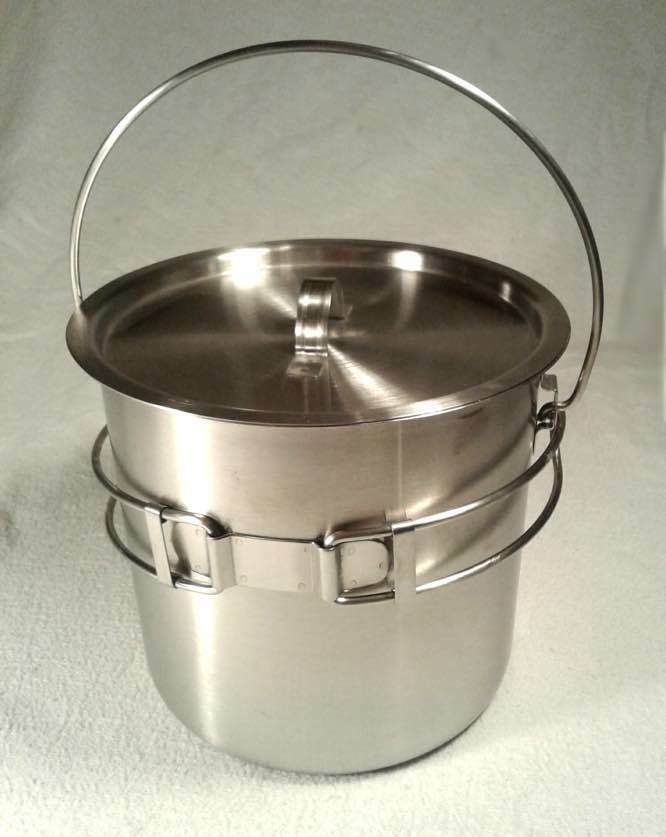 52 / 68 Oz Stainless Steel Camping Pot Pot Camping Cooking Kettle + Survival Bowie Knife e441e4