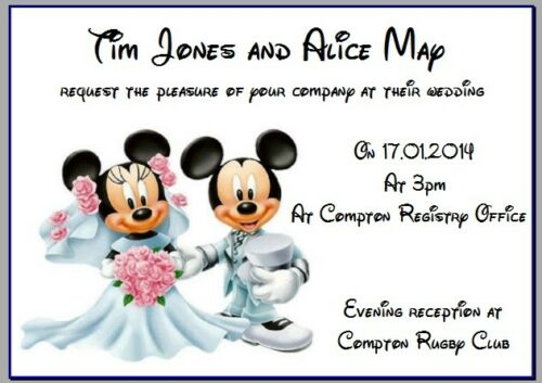 PERSONALISED CARD PHOTO PAPER WEDDING EVENING INVITES MINNIE MICKEY MOUSE 3