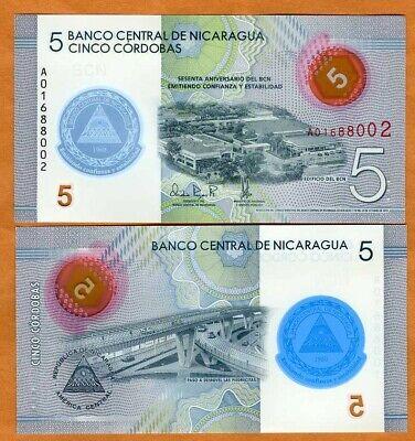 Nicaragua 5 Cordobas p-New Polymer x 5 PCS UNC 23.10.2019//2020 LOT