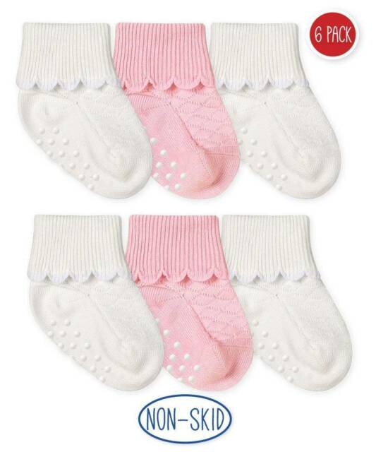 12 Pairs Black//White//Pink Baby Seamless Turn Cuff non-skid Cotton Socks for 0-6M