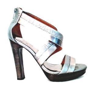 Details about COACH Brynn Metallic Leather Criss Cross Platform Sandal Sz  7B Stacked Heel