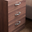 thumbnail 5 - Riano Bedside Cabinet Chest Of Drawers Walnut 3 Drawer Metal Handles Runners