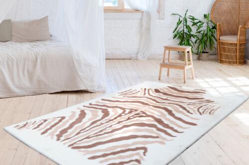 Teppich Weich Flauschig Kuschelig Tier Zebra Fell Design Braun Beige Creme