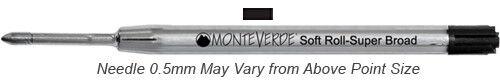 Monteverde Refills Soft Roll Needle Point Black for Parker .5mm Ballpoint Pen...