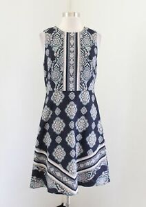 Ann Taylor Navy Blue Medallion Print Fit and Flare Dress Sz 4 Sleeveless Casual